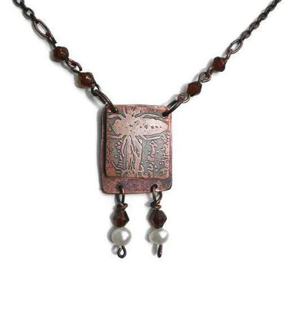 Etched Copper book necklace, Bee Inspired to dream by Recreate4U
