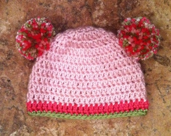 RTS ~ Round Double Pom Pom Beanie - Size: Newborn, Color ~ Pink with Hot Pink and Spring Green Trim ~ Ready to Ship!!