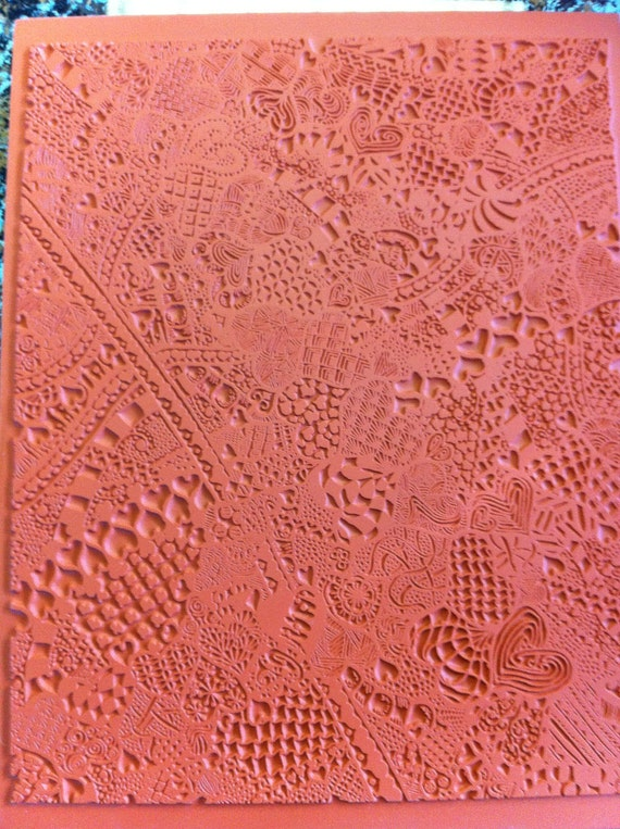 Zentangle Unmounted Rubber - Clay Texture Stamp   Pattern Hearts