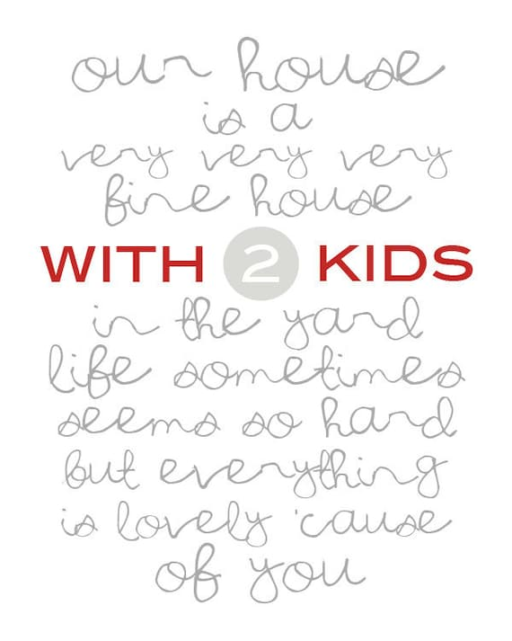 """CLEARANCE  Our House white - 2 kids - 8x10"""""""