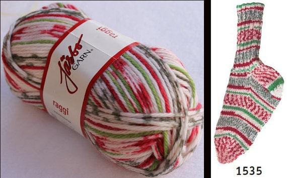 Jarbo Raggi Boot Sock Yarn Color 1535 Christmas Delight
