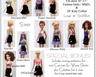 PDF French Flirt Crochet Pattern for 16 inch Fashion dolls, Kitty Collier, and MSD BJD