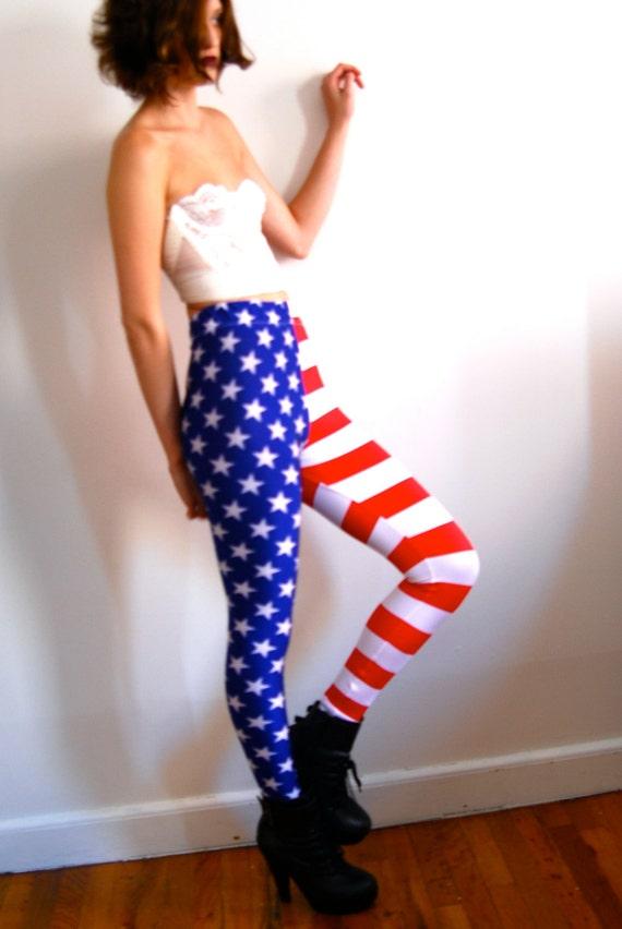 Women Leggings American Flag Stars and Stripes leggings