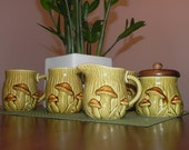 Vintage Mellow Mushroom Mugs -  5 Piece Coffee/Tea Set