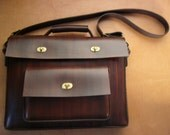 RESERVED FOR WILLIAM - Q3 - Antiqued Brown Leather Laptop Bag With Frontside Pocket