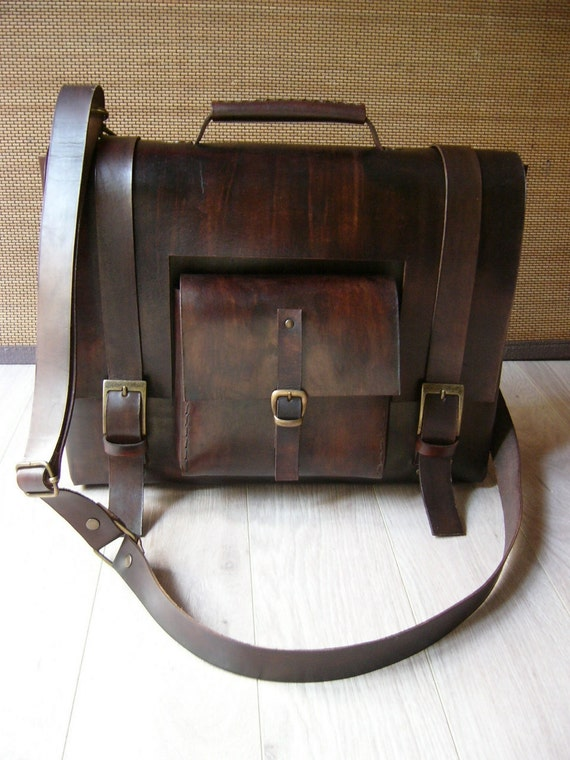 Q14 - Double Comparted Laptop Leather Bag With Frontside Pocket