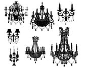 INSTANT DOWNLOAD 1 zip file- Clip Art Personal Small Commercial -Damask Designs silhouette Chandelier clipart 1006