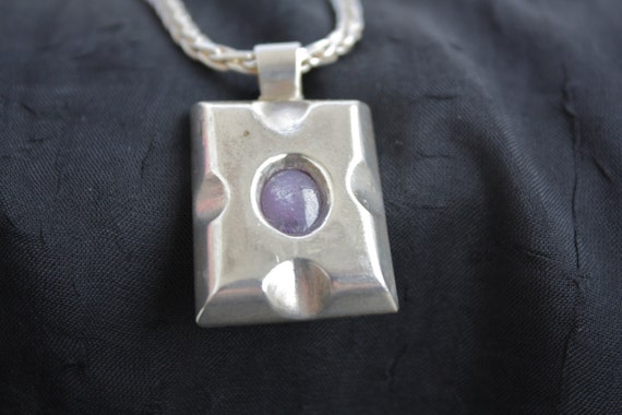 Natural Star Ruby & Sterling Silver Necklace