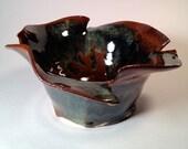 Unique abstract decorative ceramic stoneware bowl with multi-color glazing and irregular rim