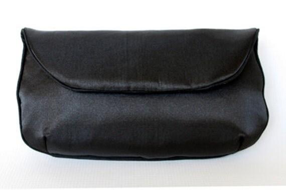 "SALE - Black Satin Clutch Purse- Birdbags ""Dove"" Handbag"
