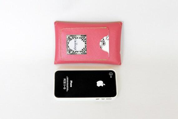 "Hot Pink iPhone 4 Case - Card Holder Wallet- Birdbags ""Birds Nest"" - Vegan Leather - FREE SHIPPING"