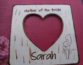 Rustic Wedding Mother of the Bride Photo Frame with YOUR Choice of Flower