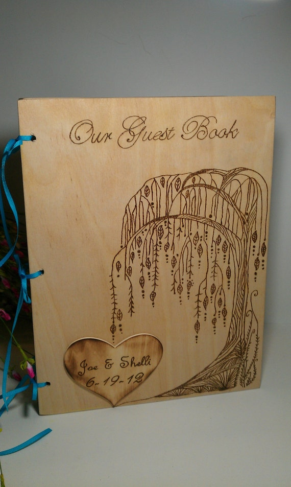 Guest Book for Rustic Wedding Willow Tree Personalized and Custom Words of Wisdom Book