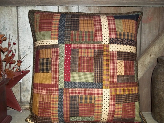 Log Cabin Patchwork Pillow 18x18 You choose your colors