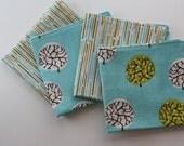 set of 4 100% ORGANIC reversible cotton napkins, aqua, gold, gift set, kitchen, hostess gift, housewarming gift