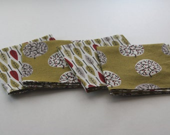 set of 4 100% ORGANIC reversible cotton napkins, trees, leaves, gold, red.