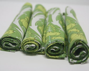 set of 4 100% cotton napkins, amy butler, green, soul blossoms lily fern