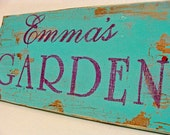 Handmade Rustic Shabby Vintage Look Wooden Personalized Garden Sign