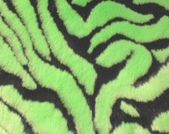 Half Yard Lime Zebra Faux Fur