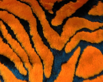 Half Yard Orange Zebra Faux Fur
