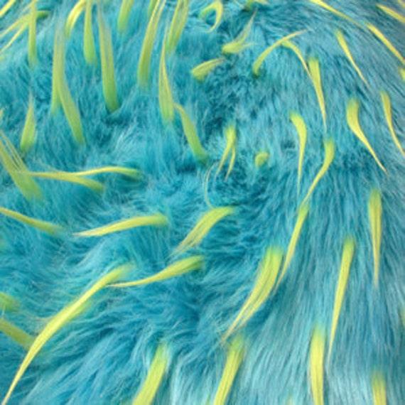 Third Yard 2tone Spiked Shag Fur - Aqua & Lime