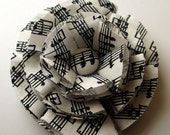 Black and White Music Notes Fabric Hair Bow