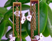 geometric earrings - japanese pearl brass
