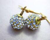 rhinestone pave orb earrings