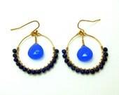 FALL SALE 30% OFF - lapis beaded hoop earrings