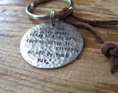 Antique Silver Rustic and Masculine Key Ring.  Custom Hand Stamped. For Dad. Leather
