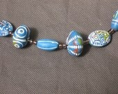 Necklace-Beaded Necklace-Beaded Jewelry-Blue beaded necklace-Peruvian clay bead necklace-blue and white necklace-Leather necklace-OOAK