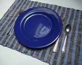 One of a Kind Handwoven Linen Cotton Placemats Set in Blue, Black, and Light Gray, One Pair, OOAK