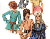 1971 - Five Blouse Styles w/Keyhole Neckline and Waistline and Sleeve Variations - Simplicity 9513 - Complete Original Vintage Pattern