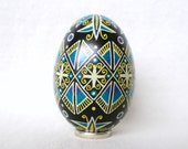 Turquoise, Blue, Black, Yellow and White Pysanka Egg