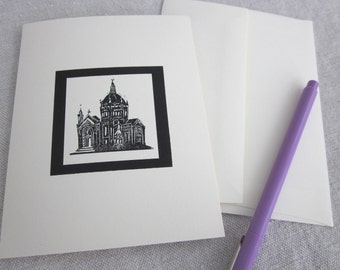 cathedral wood engraving cards - set of 6