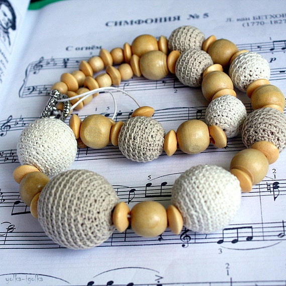 Crochet Necklace. Crochet Jewelry. Cream-milk Necklace.