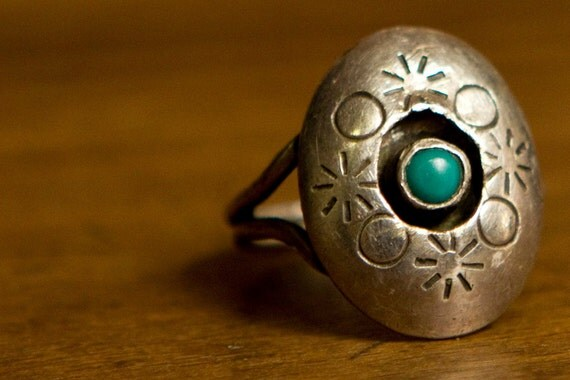 SUN MOON STARS vintage ring // Astral silver & turquoise 6
