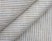 "Natural grey striped Linen fabric 49""x 38"""