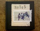 Birds on a branch handprinted collage notebook journal