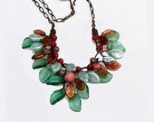 Green Burgundy Leaf Necklace, Beaded Necklace, Nature Jewelry