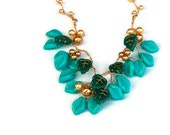 Turquoise Beaded Necklace, Bib Necklace, Nature Jewelry, Leaf Necklace