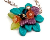 Spring Flower Necklace,  Beaded Necklace,  Pendant Necklace, Nature Jewelry pinks orange, turquoise
