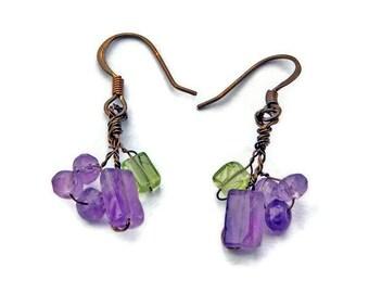 Amethyst Dangle Earrings, Green Purple Beaded Earrings,  Nature Jewelry