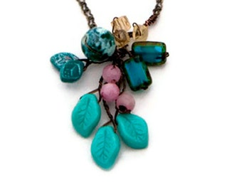 Turquoise and Pink,  Multi Gemstone Necklace. Pendant Necklace. Nature Jewelry