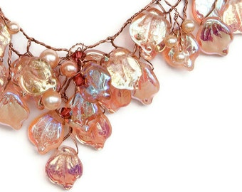 Peach Bib Necklace, Leaf Necklace,  Bridal Necklace, Vintage Inspired Jewelry, Leaf Jewelry