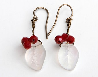 white and red dangle earrings, leaf earrings, Nature Jewelry, Summer Fashion