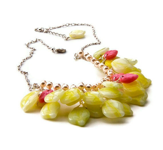 Pink Yellow Glass Leaf Beaded necklace  Yellow Glass Bib Necklace, Yellow Leaf Bridal Necklace, Yellow Nature Jewelry, Gift For Her