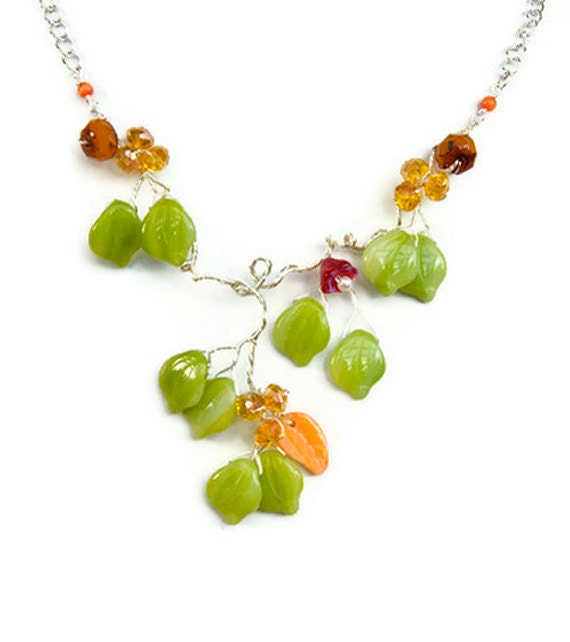 Lime green floral necklace, leaf necklace, nature jewelry