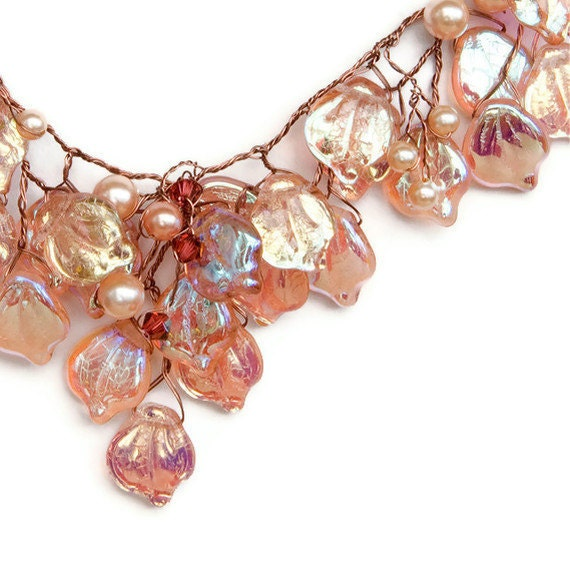 Peach Bib Necklace, Leaf Necklace,  Bridal Necklace, Vintage Inspired Jewelry, Leaf Jewelry