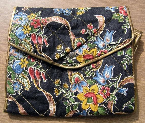 Vintage Cosmetic Bag, Vintage Sock Holder, Case, Bag with sections, Retro Bag Vintage 1960s 70s DDR